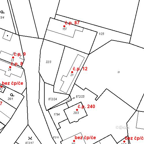 Katastrální mapa Stavební objekt Bobnice 12, Bobnice