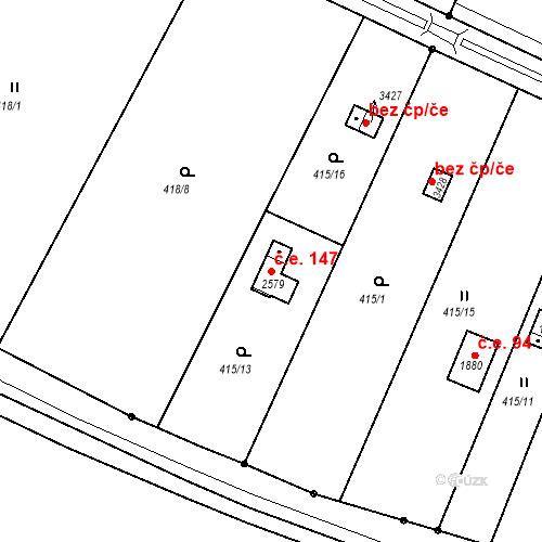 Katastrální mapa Stavební objekt Nymburk 147, Nymburk