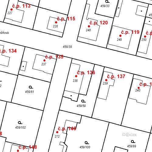 Katastrální mapa Stavební objekt Bobnice 136, Bobnice