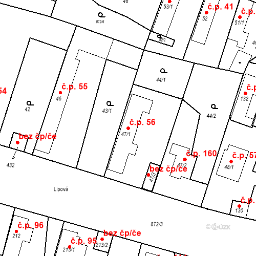 Katastrální mapa Stavební objekt Bobnice 56, Bobnice