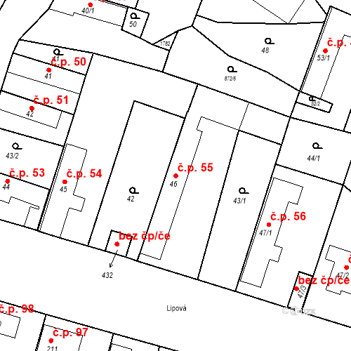 Katastrální mapa Stavební objekt Bobnice 55, Bobnice