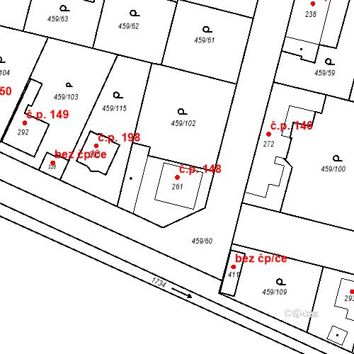 Katastrální mapa Stavební objekt Bobnice 148, Bobnice