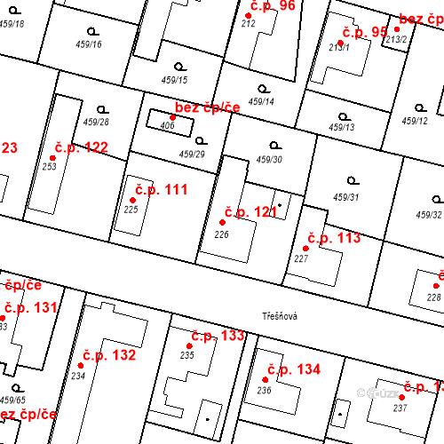 Katastrální mapa Stavební objekt Bobnice 121, Bobnice