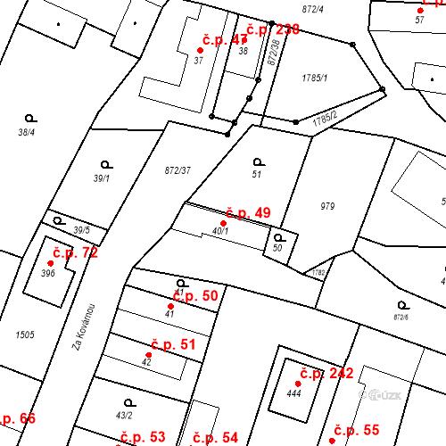 Katastrální mapa Stavební objekt Bobnice 49, Bobnice