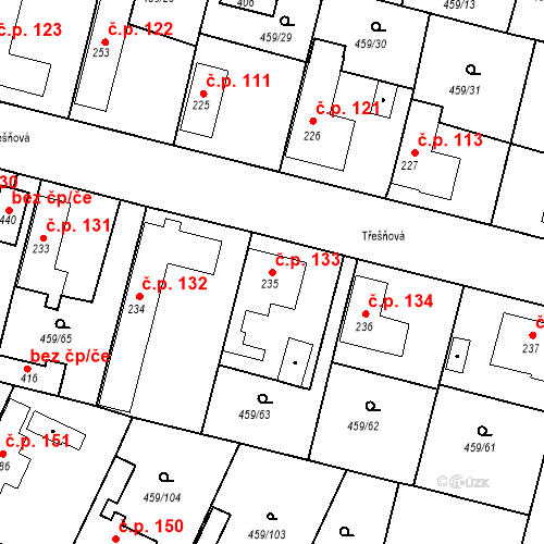 Katastrální mapa Stavební objekt Bobnice 133, Bobnice