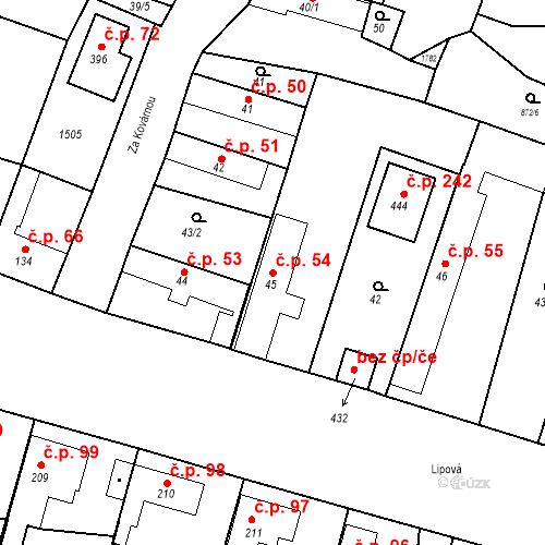 Katastrální mapa Stavební objekt Bobnice 54, Bobnice