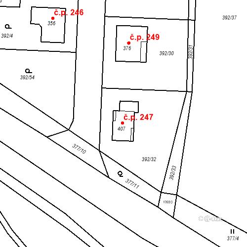 Katastrální mapa Stavební objekt Březno 247, Březno