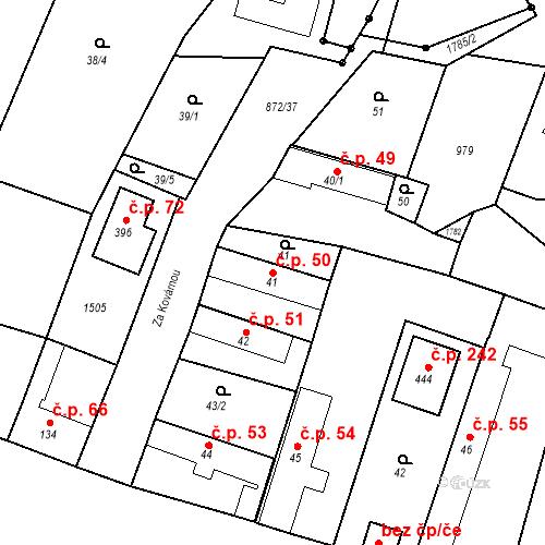 Katastrální mapa Stavební objekt Bobnice 50, Bobnice
