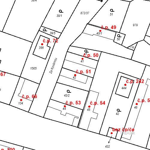 Katastrální mapa Stavební objekt Bobnice 51, Bobnice