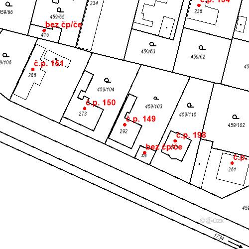 Katastrální mapa Stavební objekt Bobnice 149, Bobnice