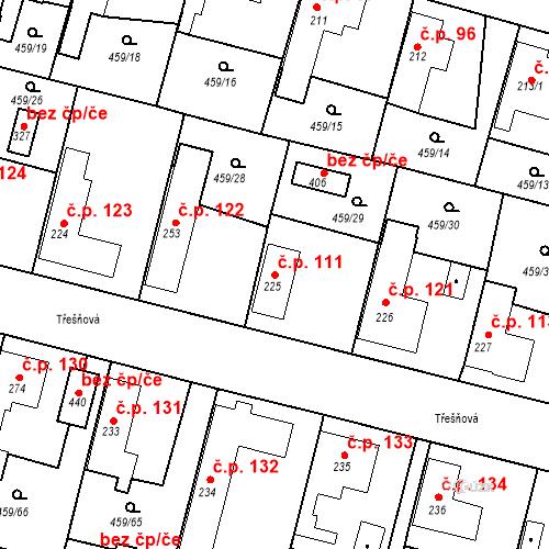 Katastrální mapa Stavební objekt Bobnice 111, Bobnice
