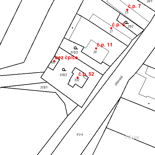 Katastrální mapa Stavební objekt Bobnice 52, Bobnice