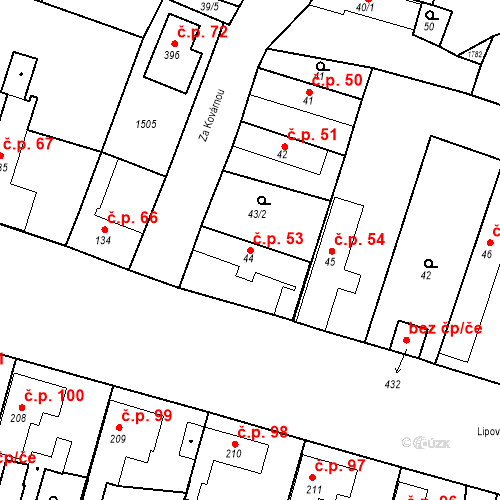 Katastrální mapa Stavební objekt Bobnice 53, Bobnice