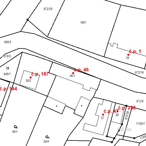 Katastrální mapa Stavební objekt Bobnice 46, Bobnice