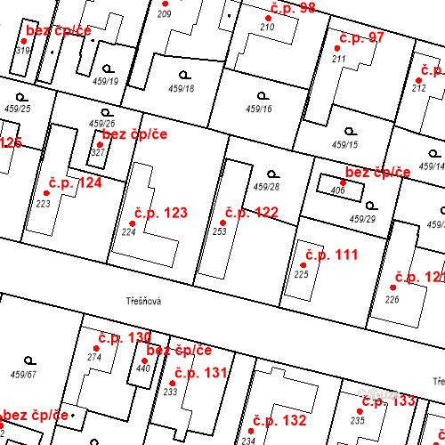 Katastrální mapa Stavební objekt Bobnice 122, Bobnice