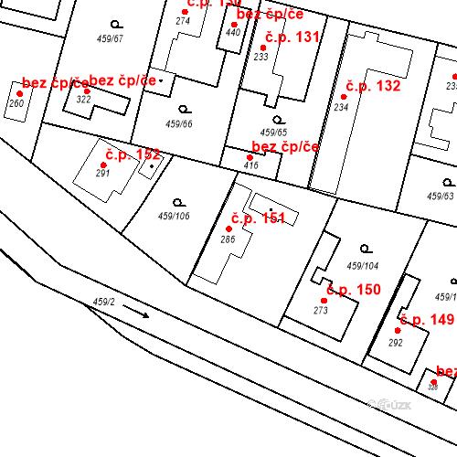 Katastrální mapa Stavební objekt Bobnice 151, Bobnice