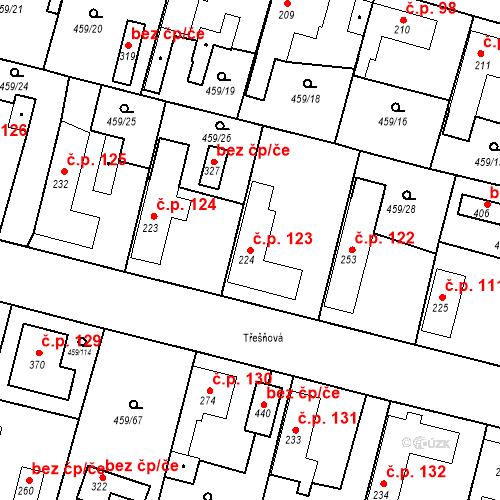 Katastrální mapa Stavební objekt Bobnice 123, Bobnice