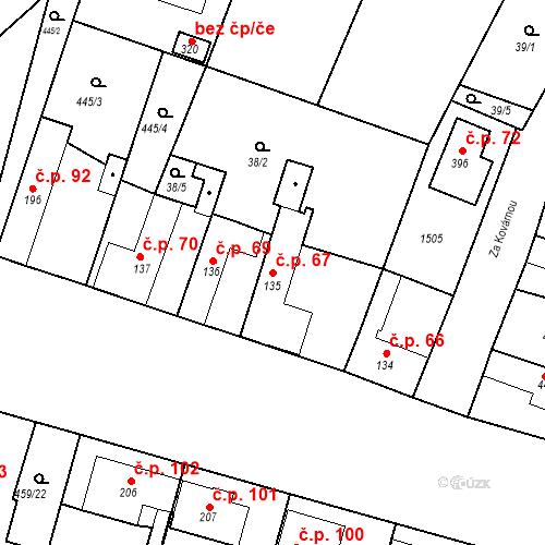 Katastrální mapa Stavební objekt Bobnice 67, Bobnice