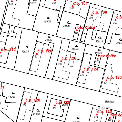 Katastrální mapa Stavební objekt Bobnice 125, Bobnice