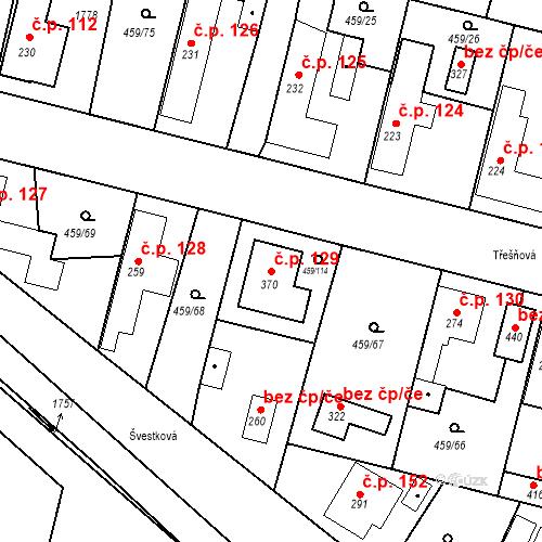 Katastrální mapa Stavební objekt Bobnice 129, Bobnice