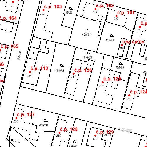 Katastrální mapa Stavební objekt Bobnice 126, Bobnice