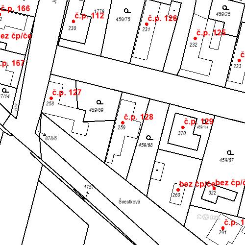 Katastrální mapa Stavební objekt Bobnice 128, Bobnice