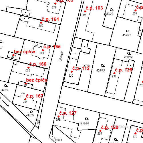 Katastrální mapa Stavební objekt Bobnice 112, Bobnice