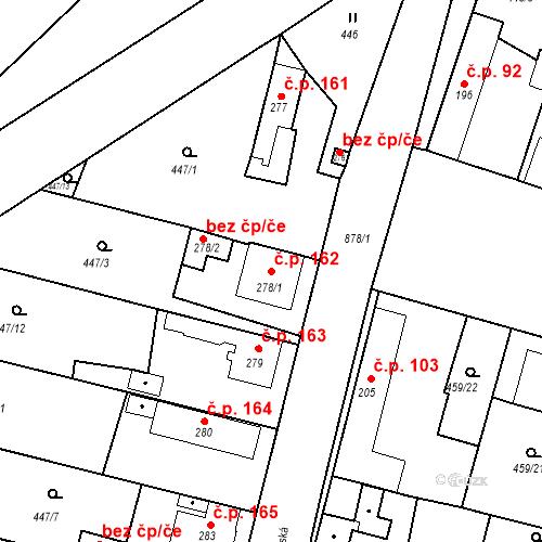 Katastrální mapa Stavební objekt Bobnice 162, Bobnice
