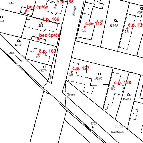 Katastrální mapa Stavební objekt Bobnice 127, Bobnice
