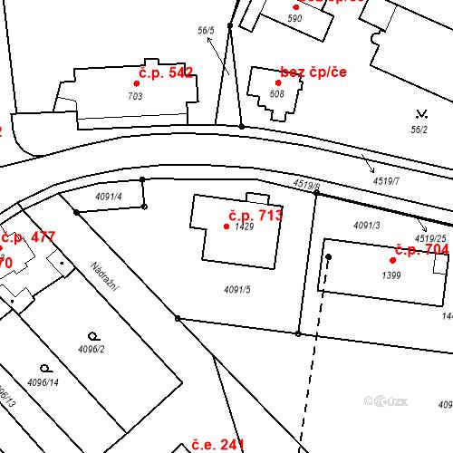 Katastrální mapa Stavební objekt Počátky 713, Počátky