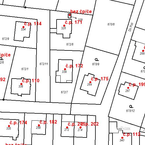 Katastrální mapa Stavební objekt Veselá 172, Mnichovo Hradiště