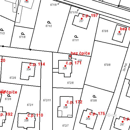 Katastrální mapa Stavební objekt Veselá 171, Mnichovo Hradiště