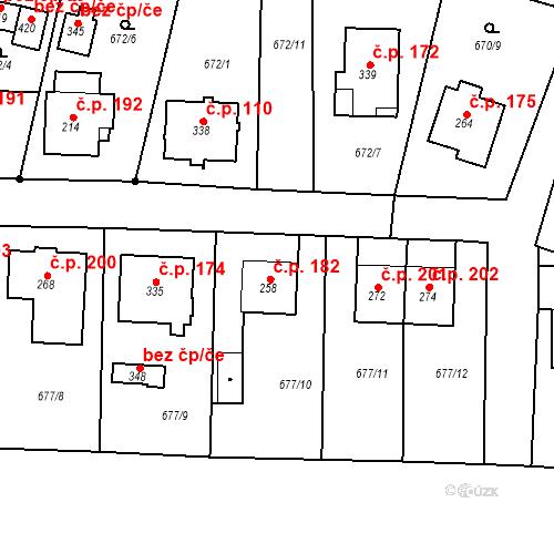 Katastrální mapa Stavební objekt Veselá 182, Mnichovo Hradiště