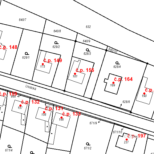 Katastrální mapa Stavební objekt Veselá 156, Mnichovo Hradiště