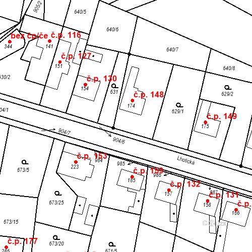 Katastrální mapa Stavební objekt Veselá 148, Mnichovo Hradiště