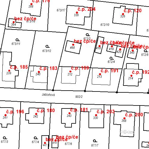 Katastrální mapa Stavební objekt Veselá 169, Mnichovo Hradiště
