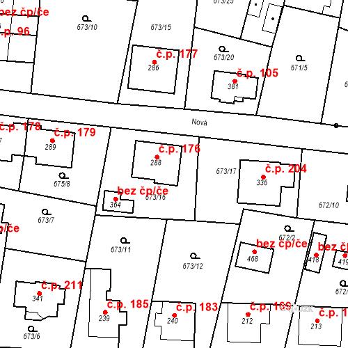 Katastrální mapa Stavební objekt Veselá 176, Mnichovo Hradiště