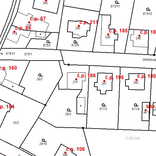 Katastrální mapa Stavební objekt Veselá 186, Mnichovo Hradiště