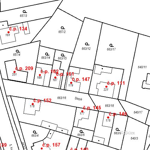 Katastrální mapa Stavební objekt Veselá 147, Mnichovo Hradiště