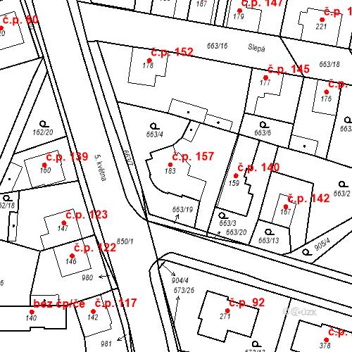 Katastrální mapa Stavební objekt Veselá 157, Mnichovo Hradiště