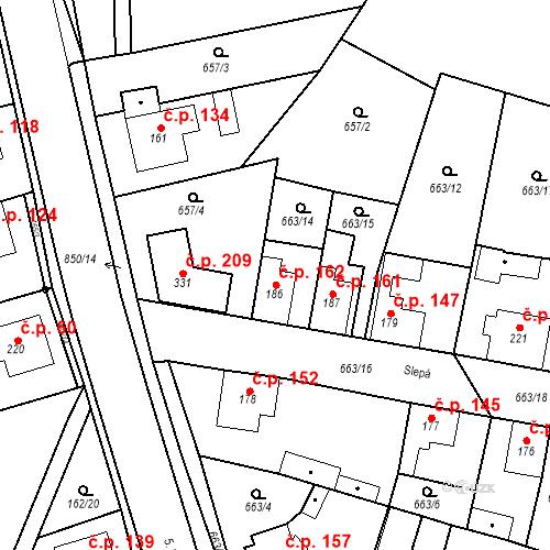 Katastrální mapa Stavební objekt Veselá 162, Mnichovo Hradiště
