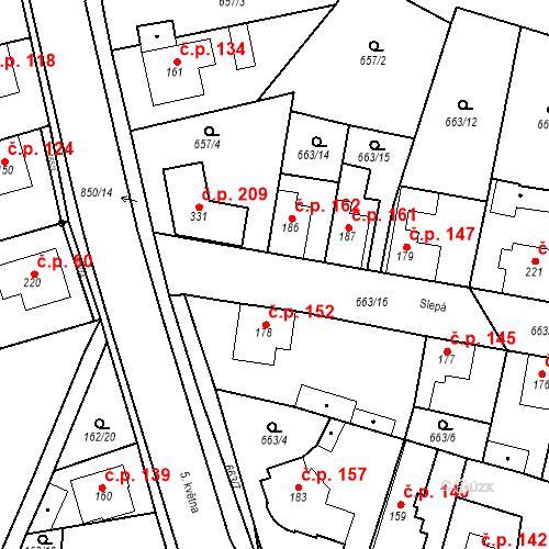 Katastrální mapa Stavební objekt Veselá 152, Mnichovo Hradiště