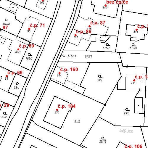 Katastrální mapa Stavební objekt Veselá 160, Mnichovo Hradiště