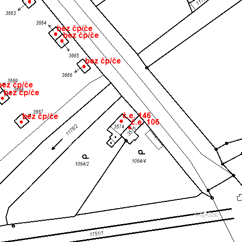Katastrální mapa Stavební objekt Nymburk 146, Nymburk
