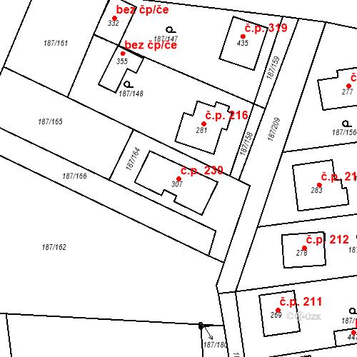 Katastrální mapa Stavební objekt Všechlapy 230, Všechlapy