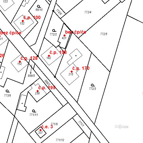 Katastrální mapa Stavební objekt Veselá 170, Mnichovo Hradiště