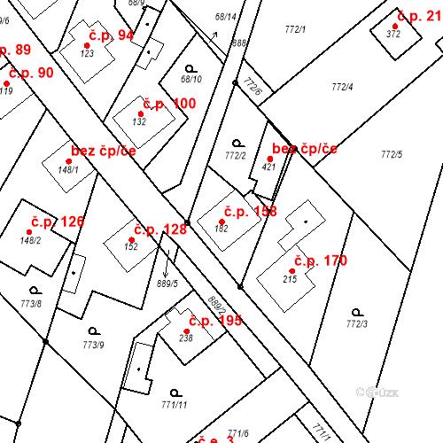 Katastrální mapa Stavební objekt Veselá 158, Mnichovo Hradiště