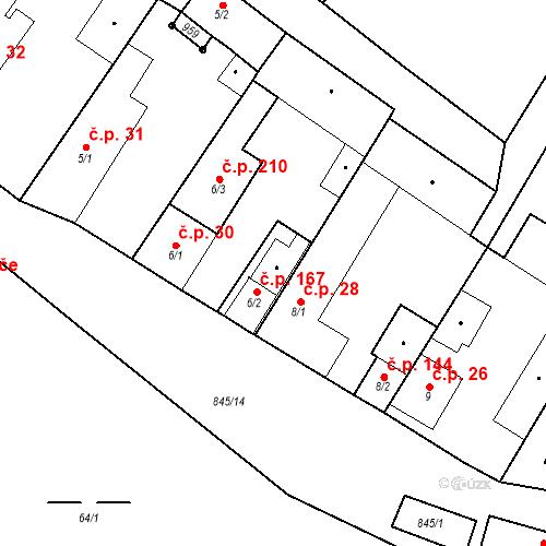 Katastrální mapa Stavební objekt Veselá 167, Mnichovo Hradiště