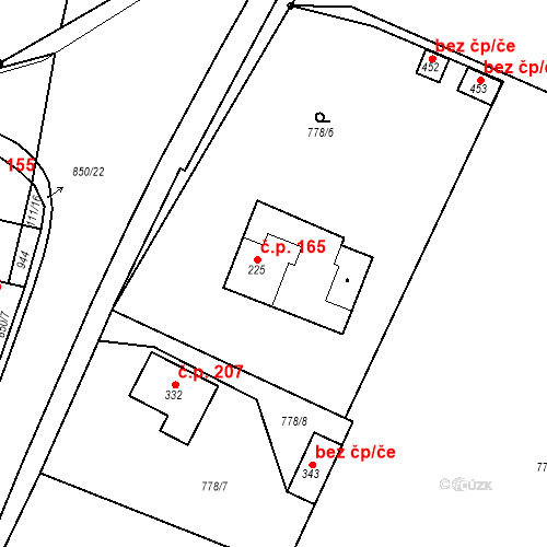 Katastrální mapa Stavební objekt Veselá 165, Mnichovo Hradiště
