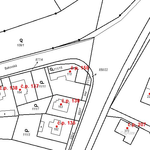Katastrální mapa Stavební objekt Veselá 155, Mnichovo Hradiště